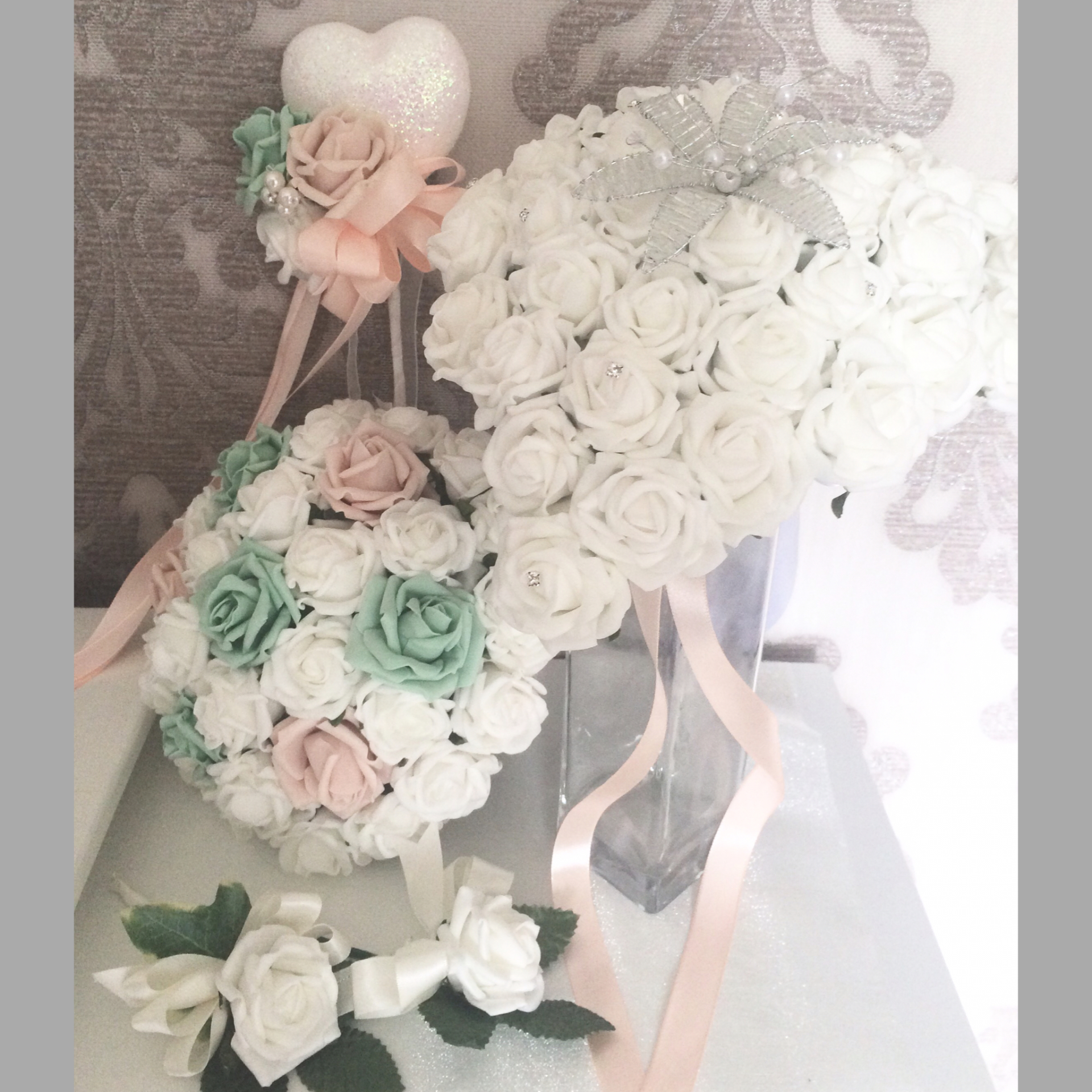 Pure Love White Rose bride Bouquet 5pc package £75