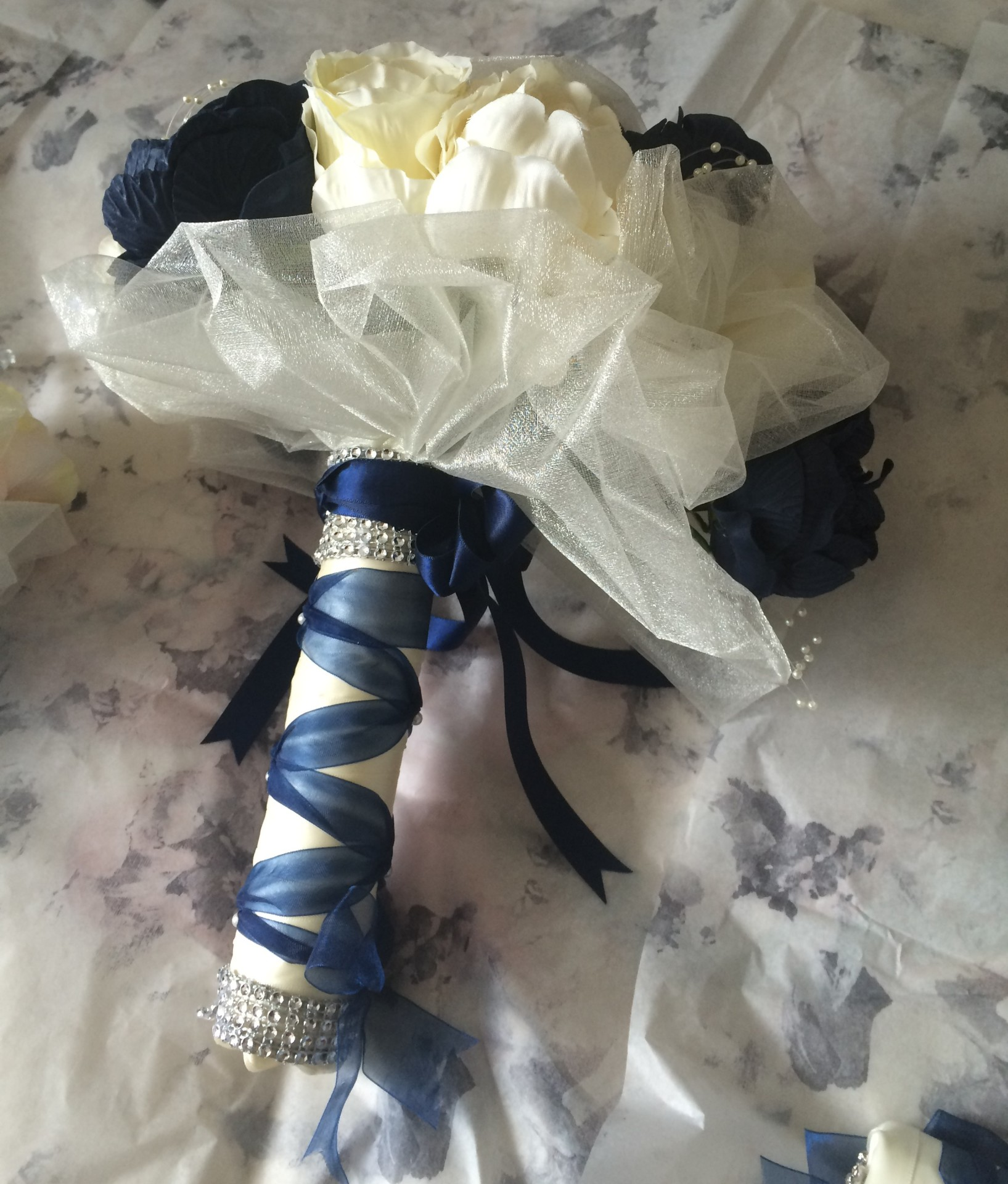Romantica Rose & Peony Teardrop Bouquet with organza touches in Navy & Ivory from £42