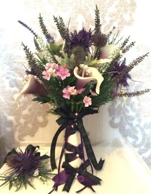 Scottish Heather Thistle and Calla Lily spray Bride Bouquet