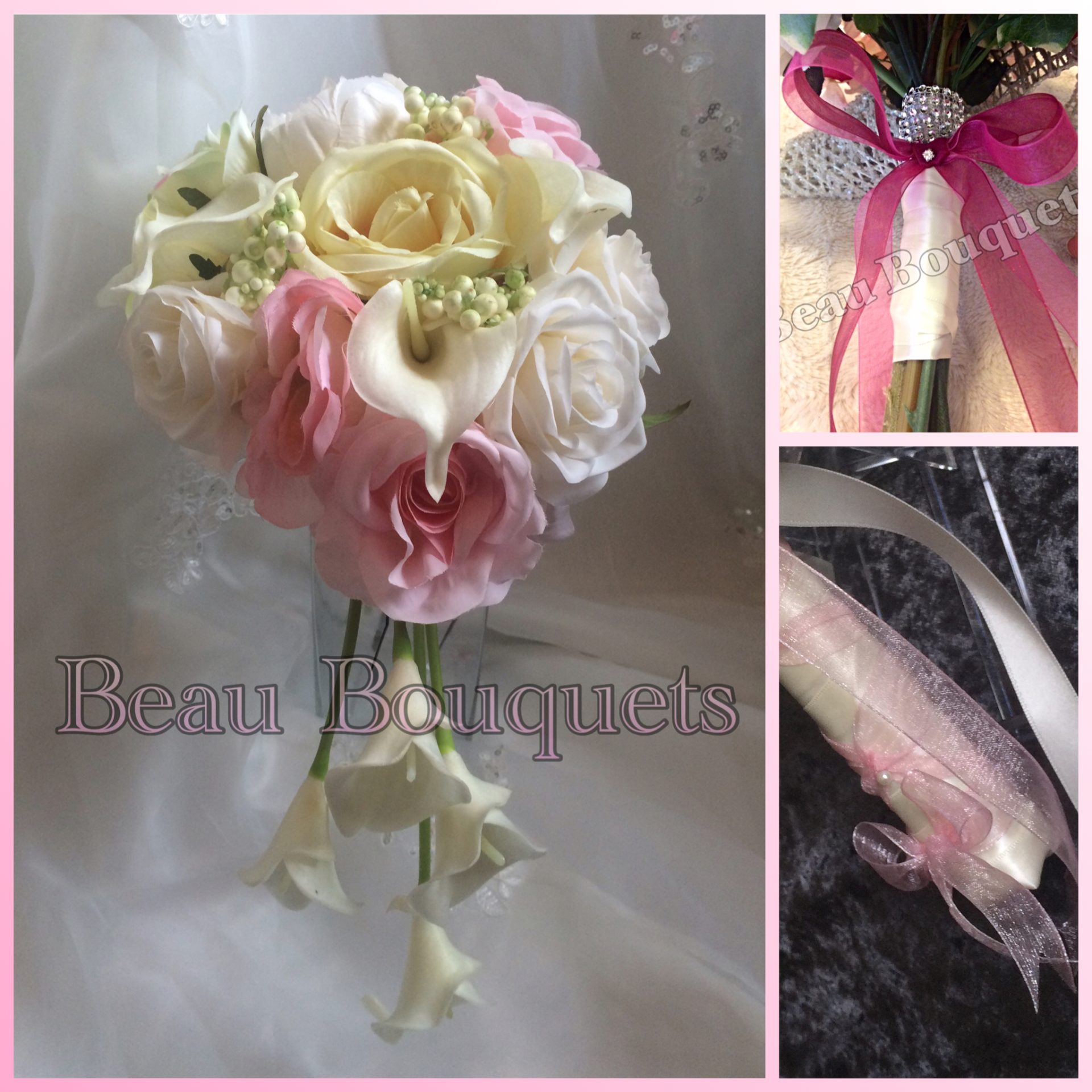 PURITY - Teardrop cascade bride bouquet package Beautiful real touch calla lilies with roses to create this soft trailing Bride Bouquet in pink & Ivory hues