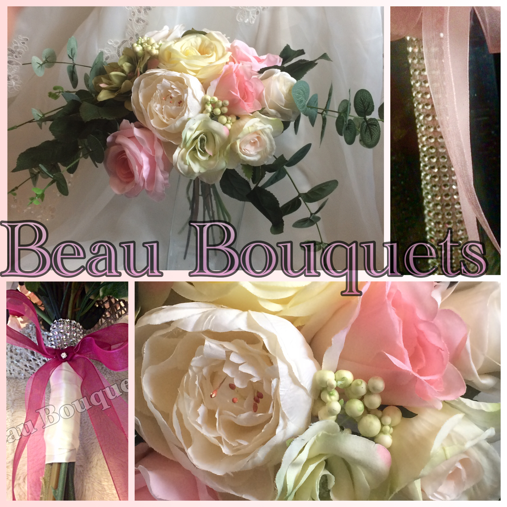 CHERISH - Large Rose & Peony Spray Bride Bouquet Package Large Rose & Peony Spray Bride Bouquet with Eucalyptus leaves. In Pastel Pinks Lemons an