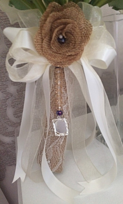 Rustic Wedding inspired Handle with Hessian & Lace and Memory Photo charm