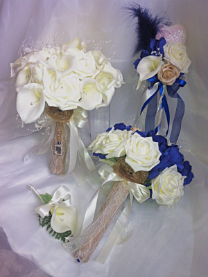 £85 Rustic Ivory Calla Lily & rose teardrop Bride Bouquet Package with Bridesmaid, Flower girl Wand & Grooms Buttonhole £85