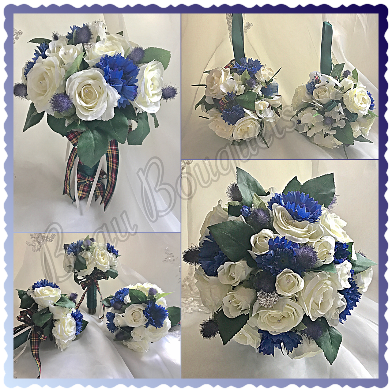 VOWS - ROYAL BLUE & IVORY SCOTTISH THISTLE, CORNFLOWER, ROSE PACKAGE
