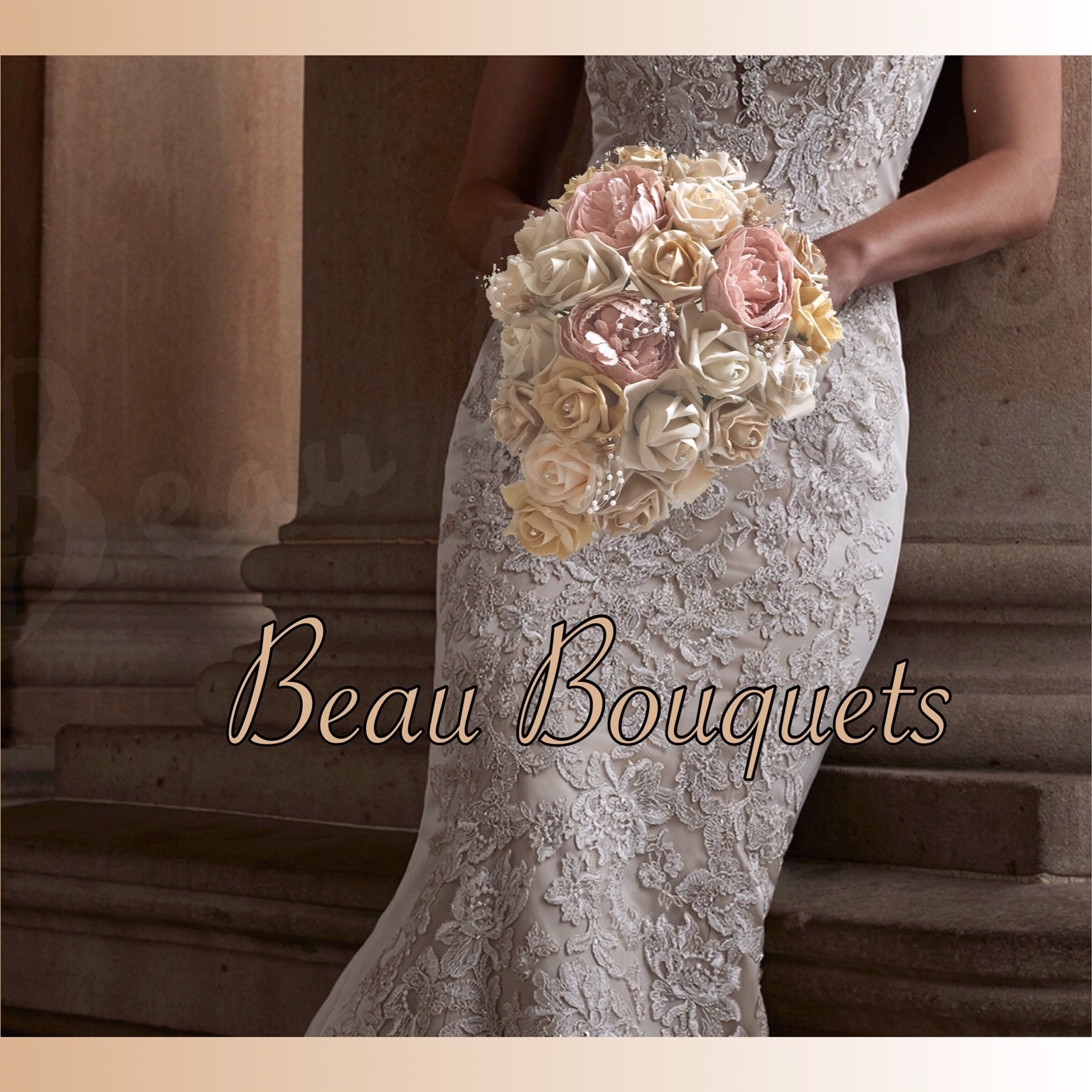 GLAMOUR - ROUND BRIDE BOUQUET Gold, Champagne, blush & ivory rose package with pearl loops, gold berries & diamante deta
