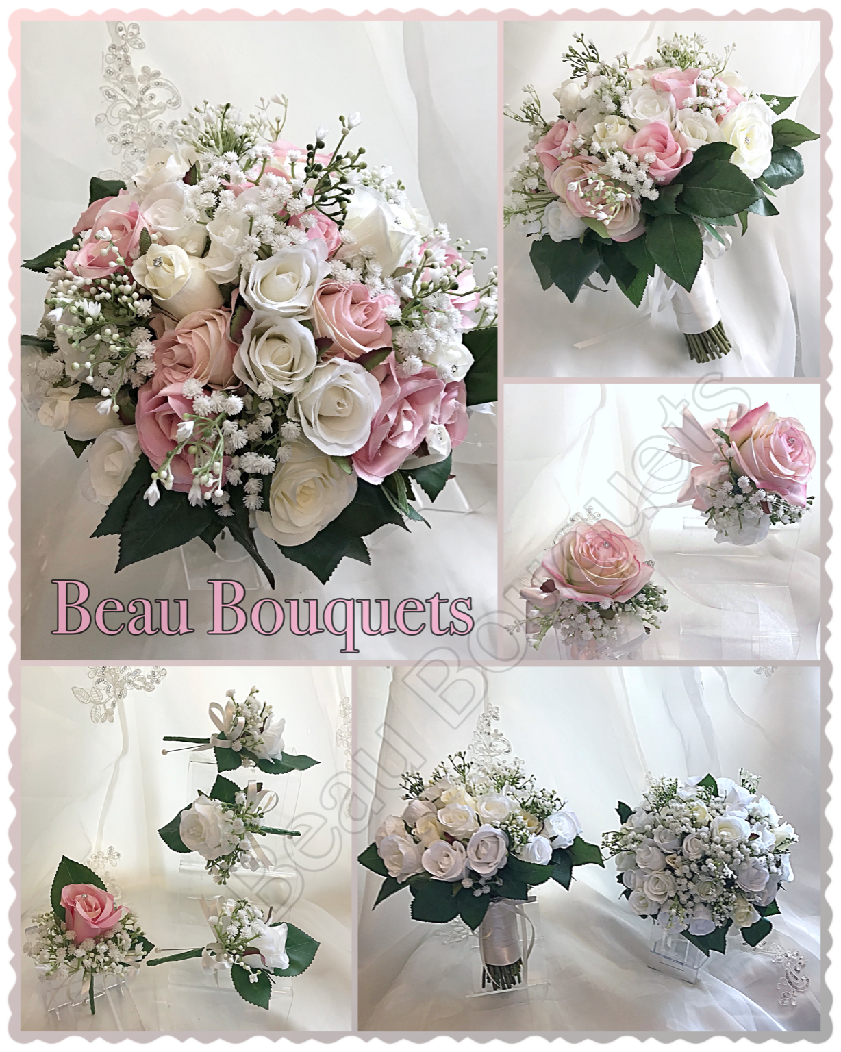 LOVING - Round Bride Bouquet Package Beautiful rose buds and gypsophila entwined with deepgreen foliage beneath. ivory satin ribbon to the handle