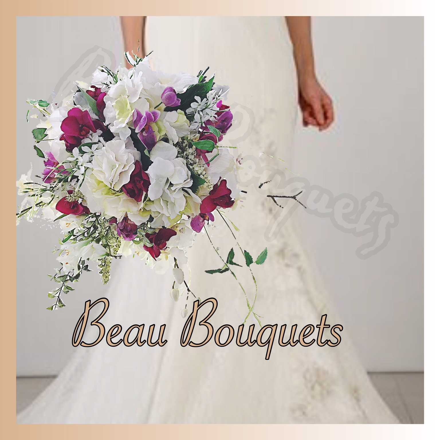 ROMANCE -  LARGE SPRAY CASCADE BRIDE BOUQUET Large spray cascade with real touch orchids, hydrangea and oriental rus