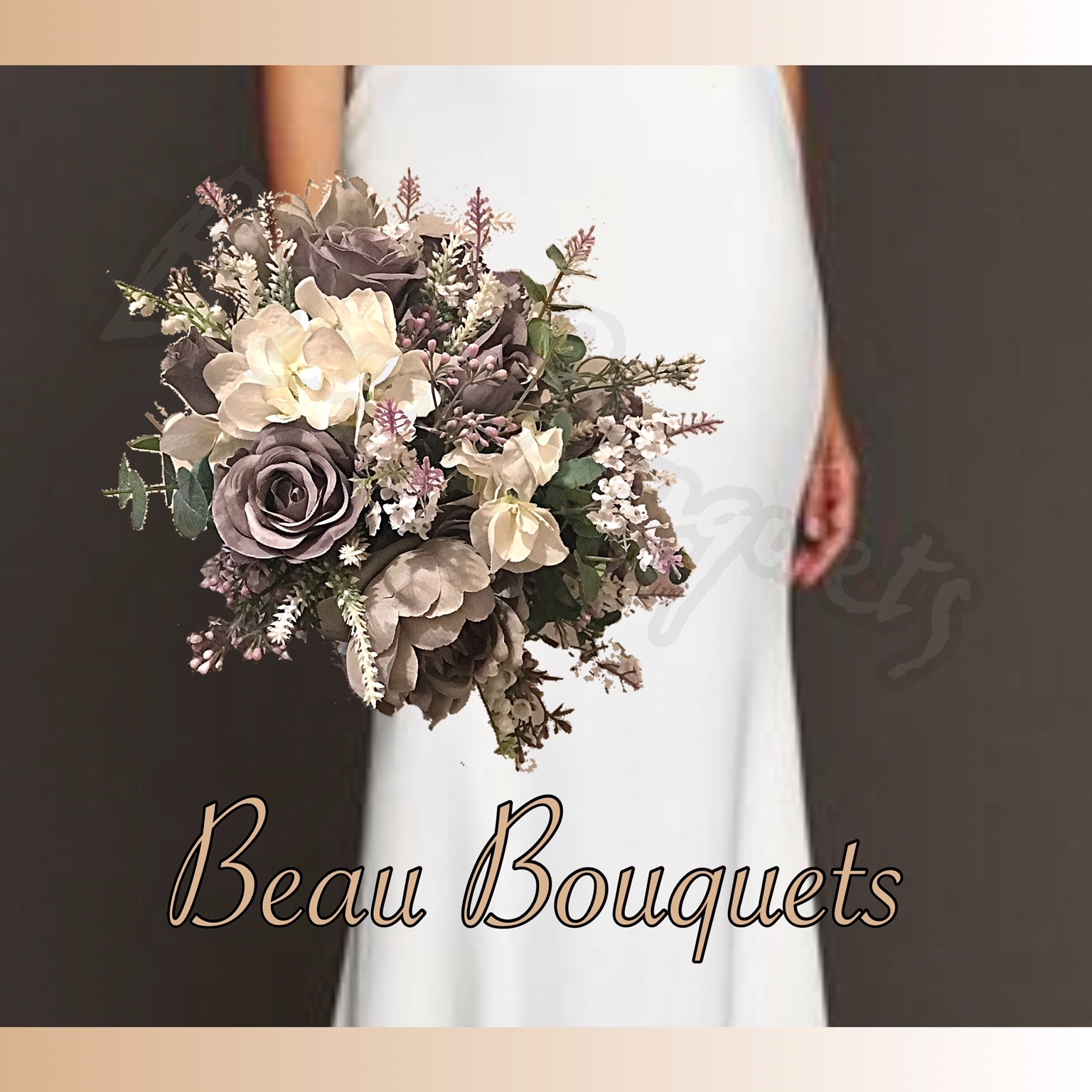 FANCIFUL - ROUND BRIDE BOUQUET ROSE LAVENDER EUCALYPTUS RUSCUS WAXFLOWER GREY IVORY