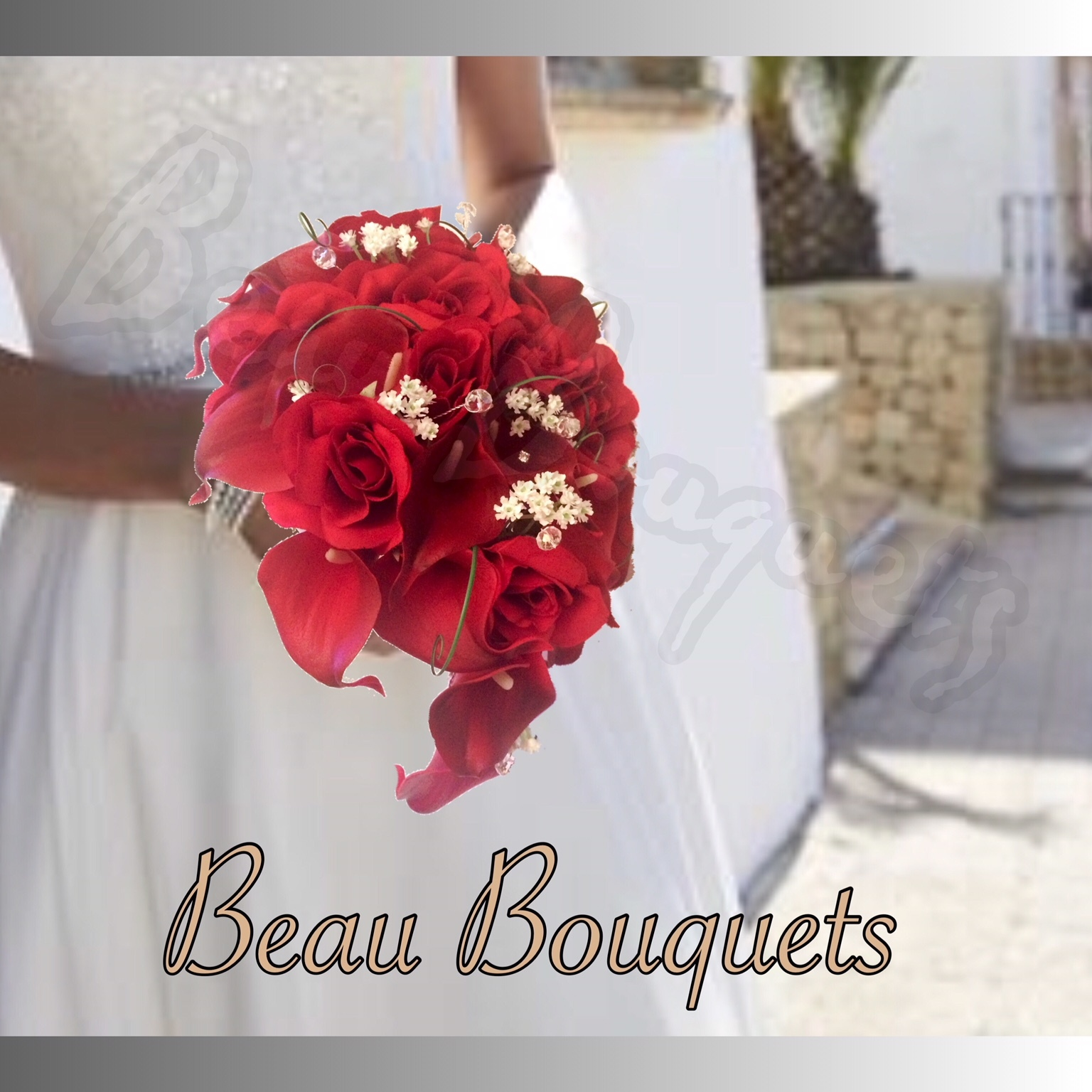 VALENTINE - TEARDROP BRIDE BOUQUET Ruby red real touch calla lilies with gypsophila touches and diamante d