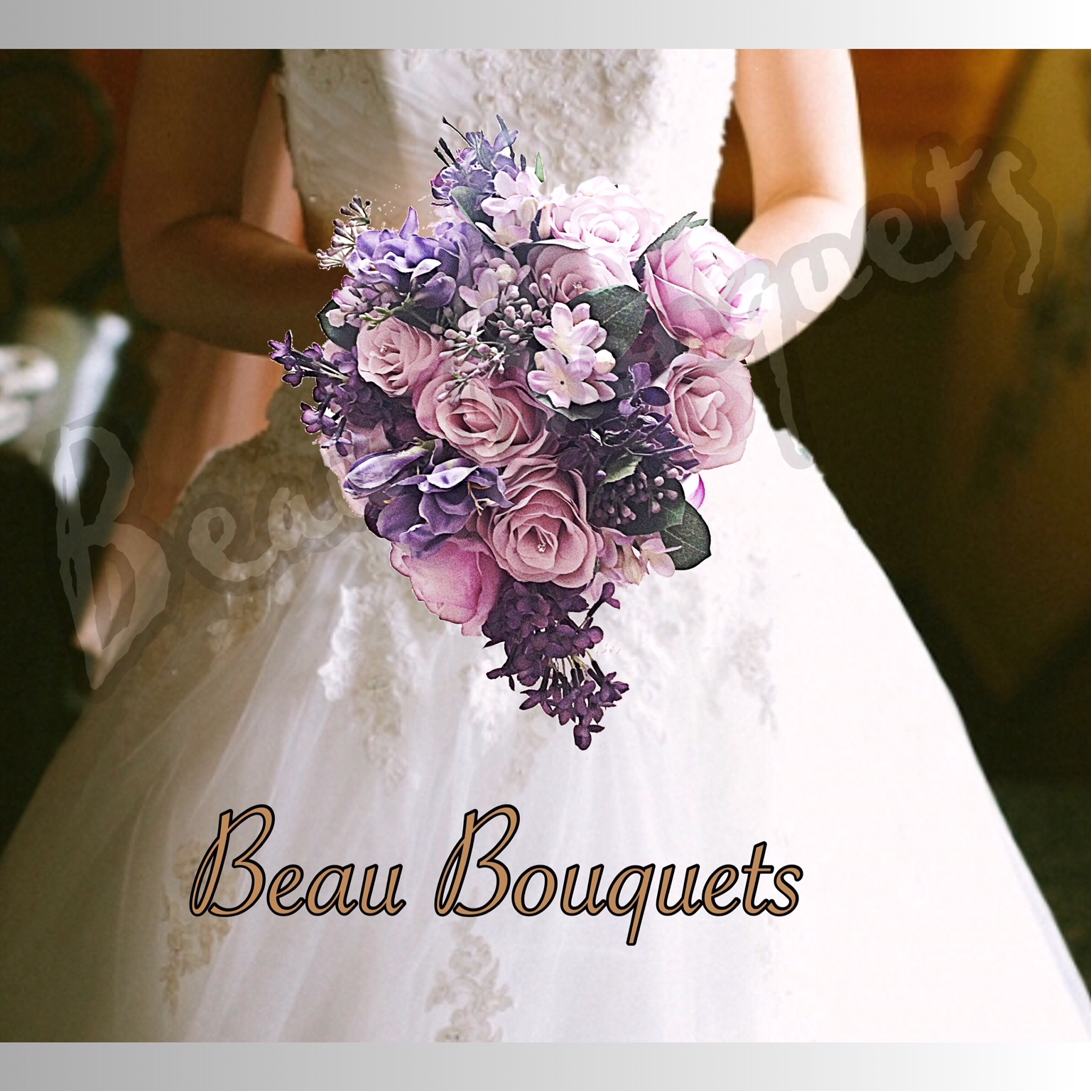 RADIANT - SOFT TEARDROP BRIDE BOUQUET Lilac & plum purples with roses, lilac stephenotis, sweet pea, & plum lil