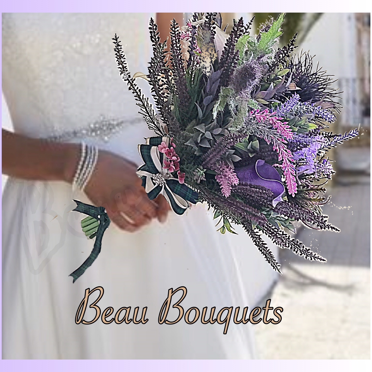 HERA - SCOTTISH SPRAY BOUQUET Purples & ivory Scottish Heather Thistle and Calla Lily spray Bride Bouquet with diamantes in each Calla Lily and pearl sprays entwined. Satin Ribbon handle with Tartan & purple ribbon & pearl pin trim. Grooms Thistle buttonhole with Tartan & purple ribbon trim