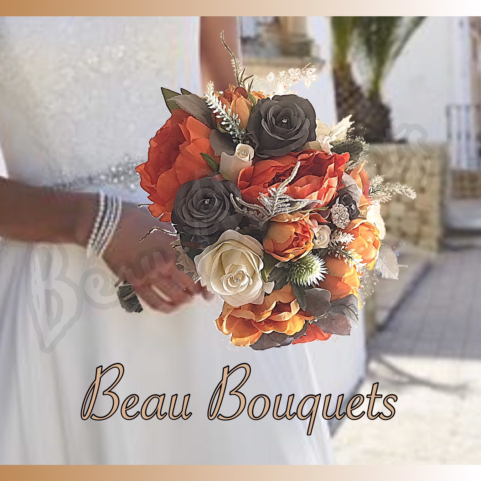 EMBRACE - ROUND BRIDE BOUQUET Roses, thistles, heathers in deep orange, grey & ivory perfect Autumn design