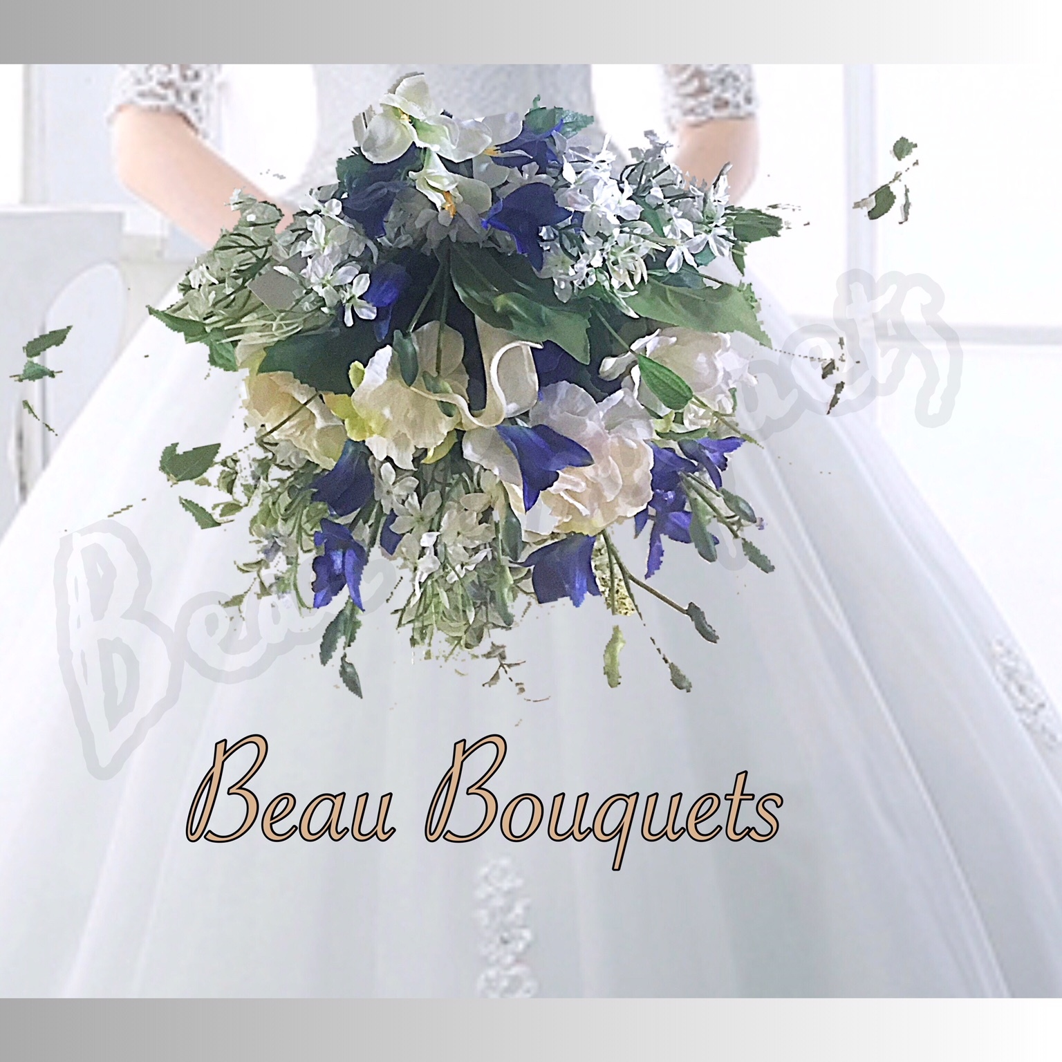 CAPTIVATE - REAL TOUCH ORCHID, CALLA, LILAC & HYDRANGEA BLUE WHITE SPRAY BRIDE BOUQUET