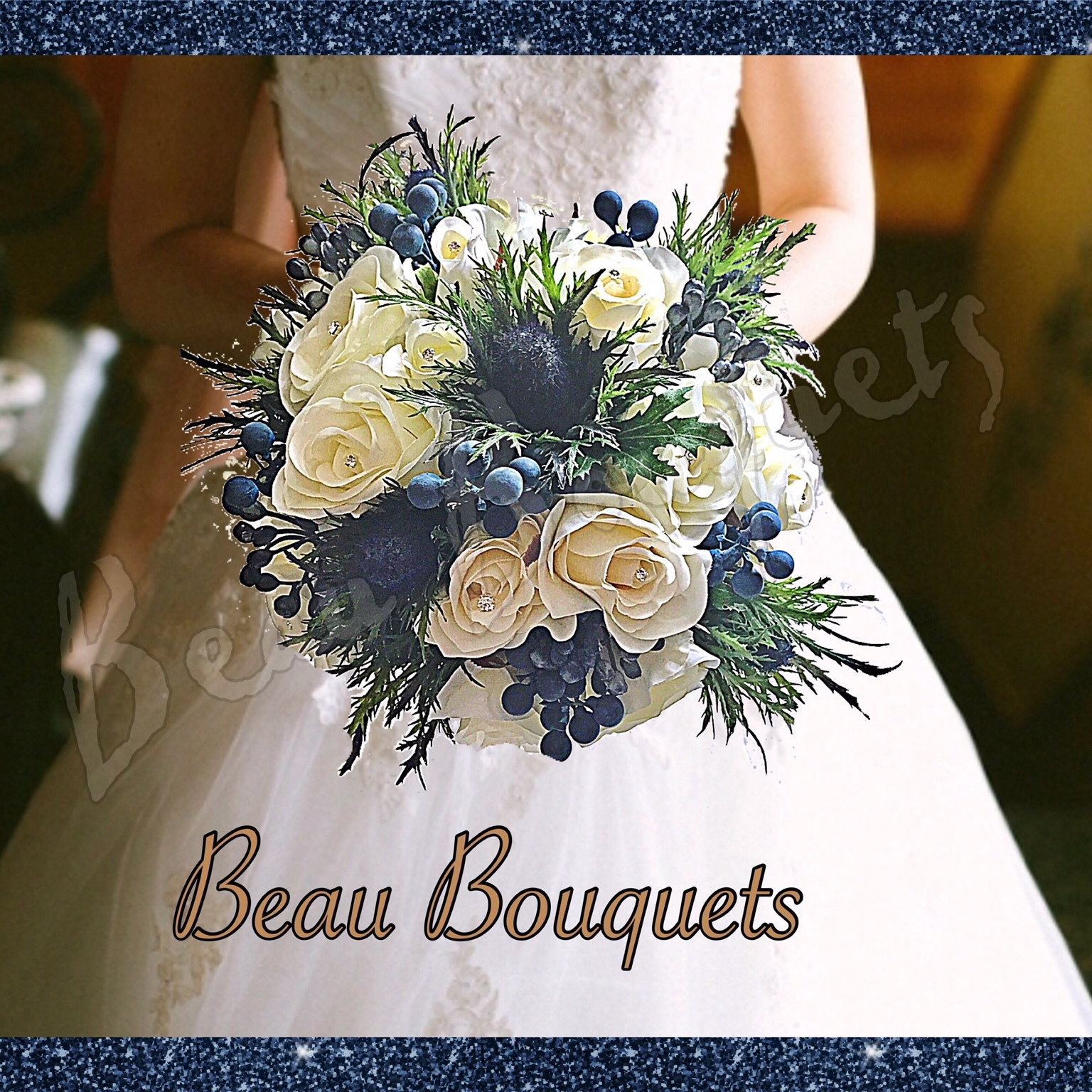 ETERNITY - SCOTTISH ROUND BRIDE BOUQUET Premium blue sea holly with silk ivory roses & blue berry touches