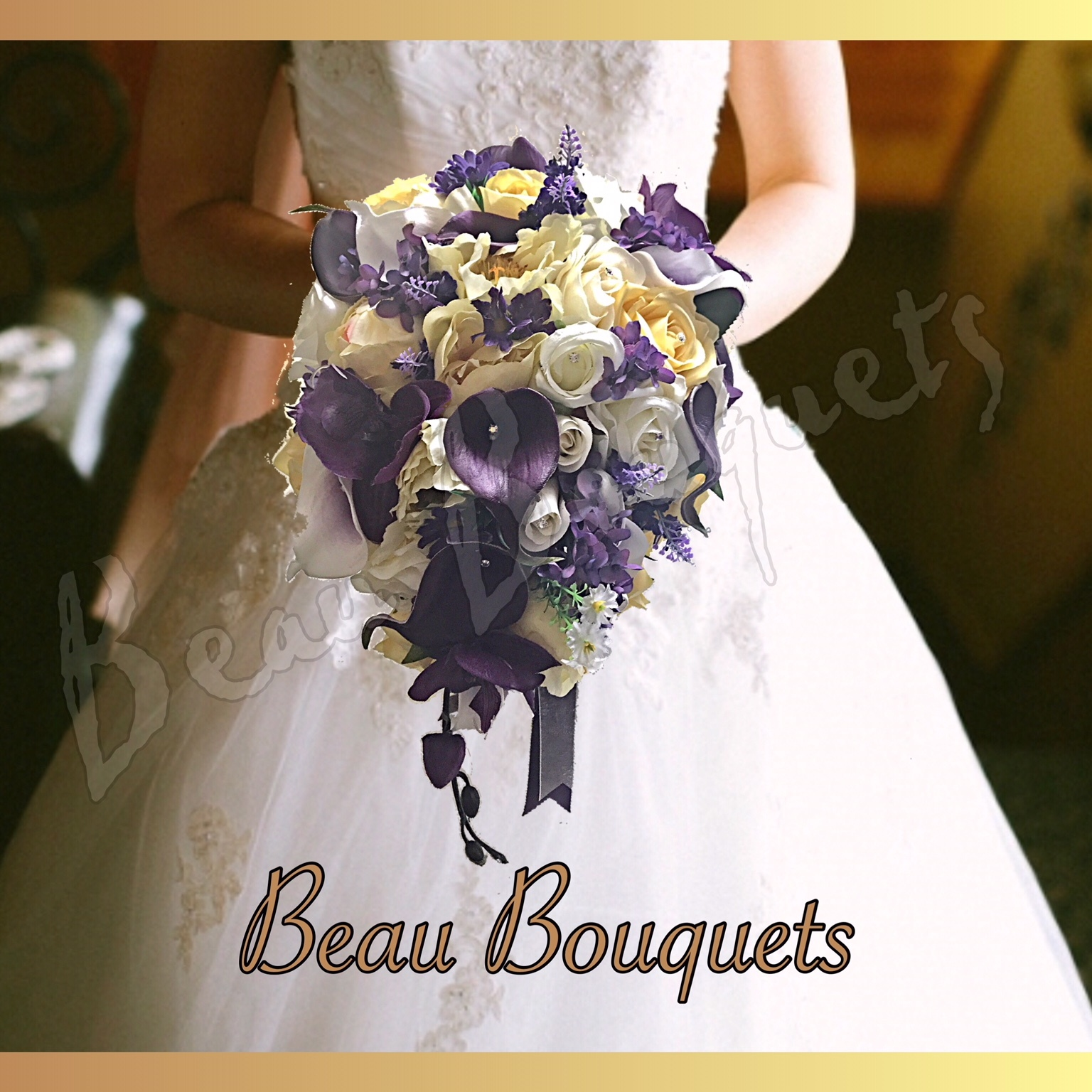 WONDERFUL - TEARDROP BRIDE BOUQUET Real touch calla lily rose, lavender, lilac, delphinium in plum purples, lemons & ivory