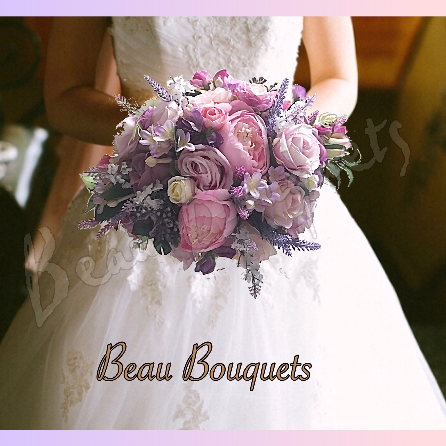 TREASURE - OVAL BRIDE BOUQUET Peony, rose, sweet pea, stepanotis & trailing foliage in lilac, pink & Ivory with diamamnte detail