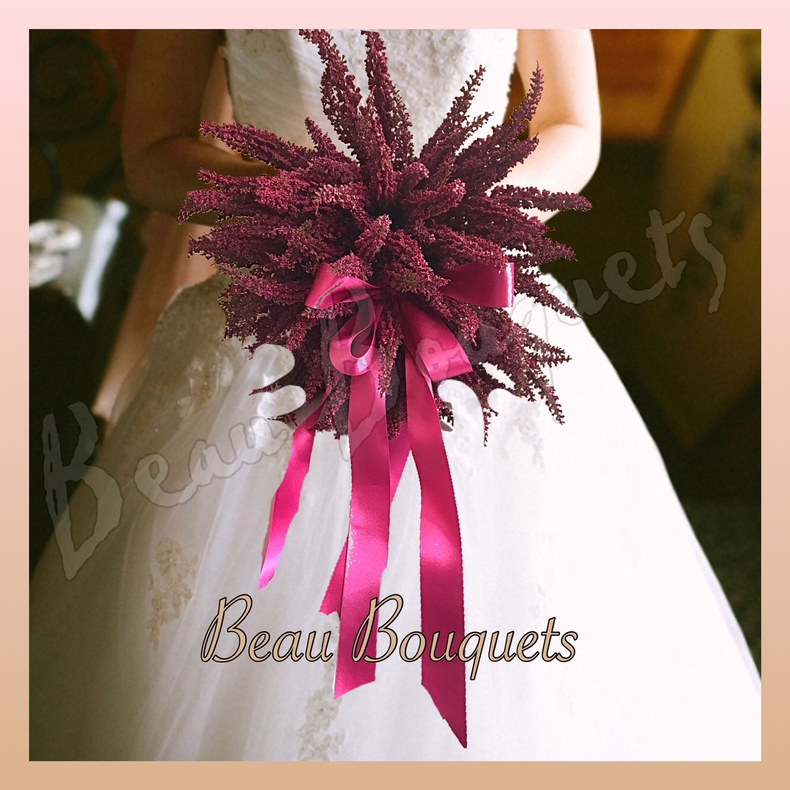 TWO BECOMES ONE- SPRAY  BRIDE BOUQUET Bride bouquet with throwing bouquet created into one splttable bouquet with premium fuschia heather & wide satin ribbon bow