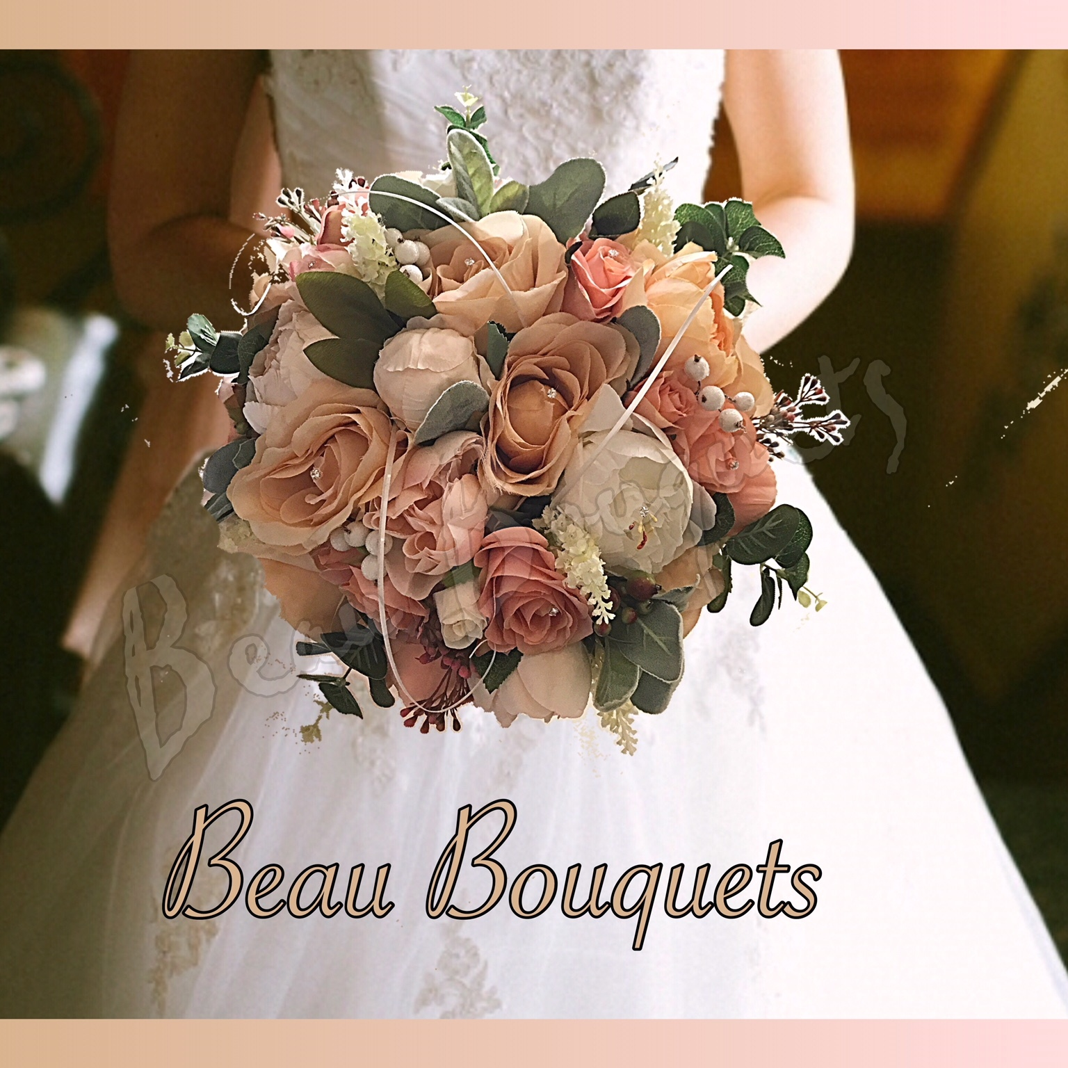 DELIGHT - Peony & rose Bride bouquet Package peach coral  peach cream champagne roses peonies hypericum and grass detail