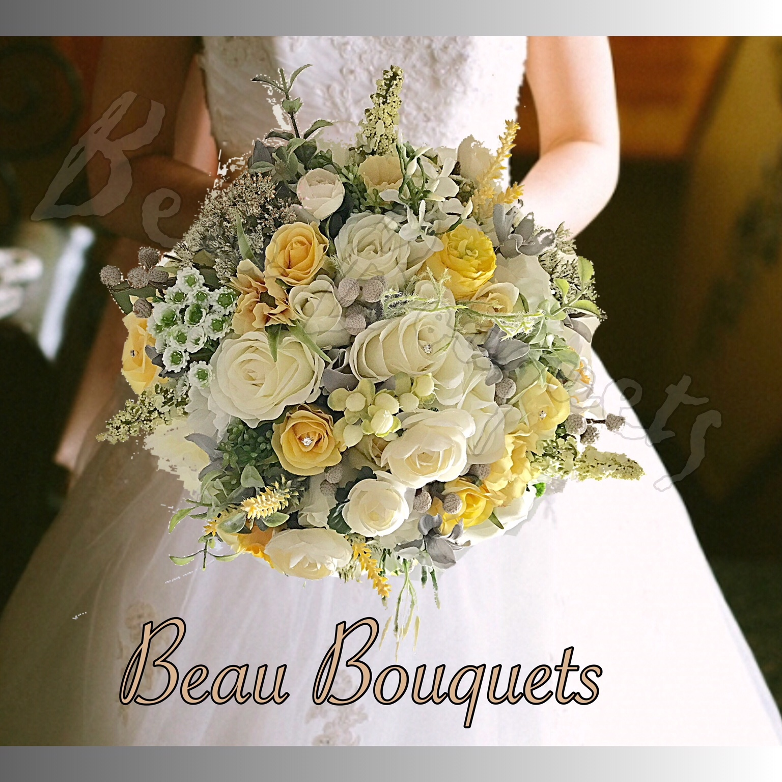 JUBILATION - LARGE BRIDE BOUQUET ROSES YELLOW LEMON IVORY with Roses, ranunculous, brunia, Queen Annes Lace, lavender, ruscus & dusky foliage. In lemon yellows, Ivory and subtle grey touches.  Diamantes & pearls in  each flower