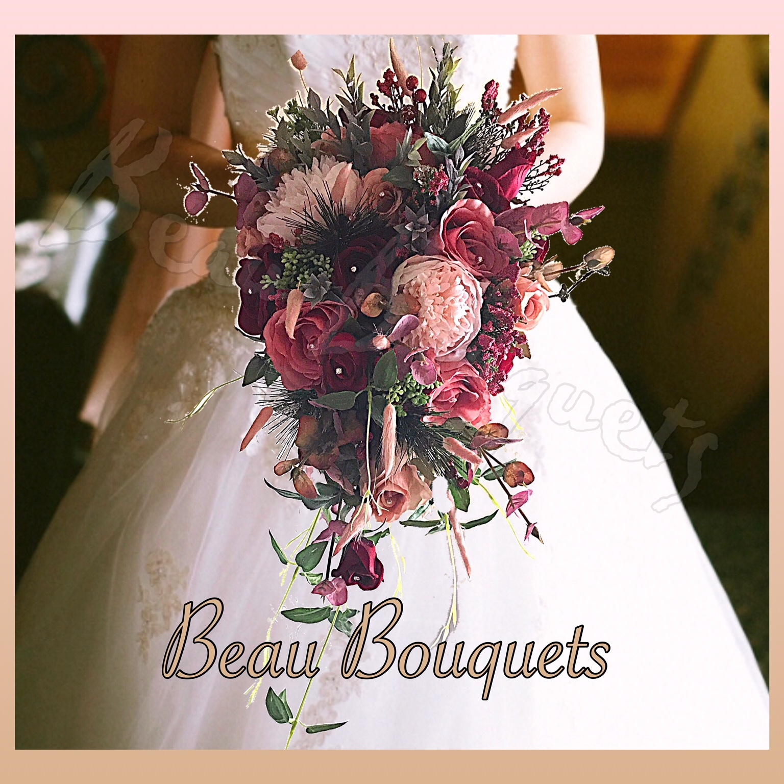 TRUE LOVE - CASCADE BRIDE BOUQUET Wintry burgundy & dusky pink roses, spruce, fir cones, berries adn dusky green foliage