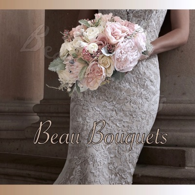 FOREVER - OVAL BRIDE BOUQUET ROSE PEONY RUSCUS DUSKY FOLIAGE PINK BLUSH IVORY