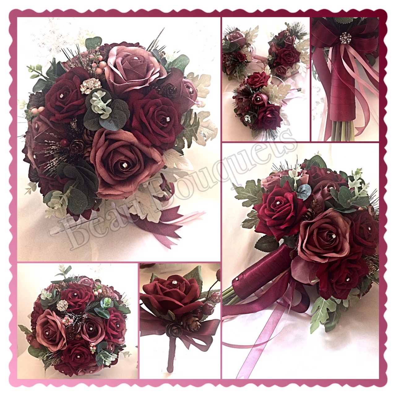 SULTRY - ARDENT - WINTRY ROSE IN BURGUNDY & DUSKY PINKS WITH DARK FOLIAGE PACKAGE