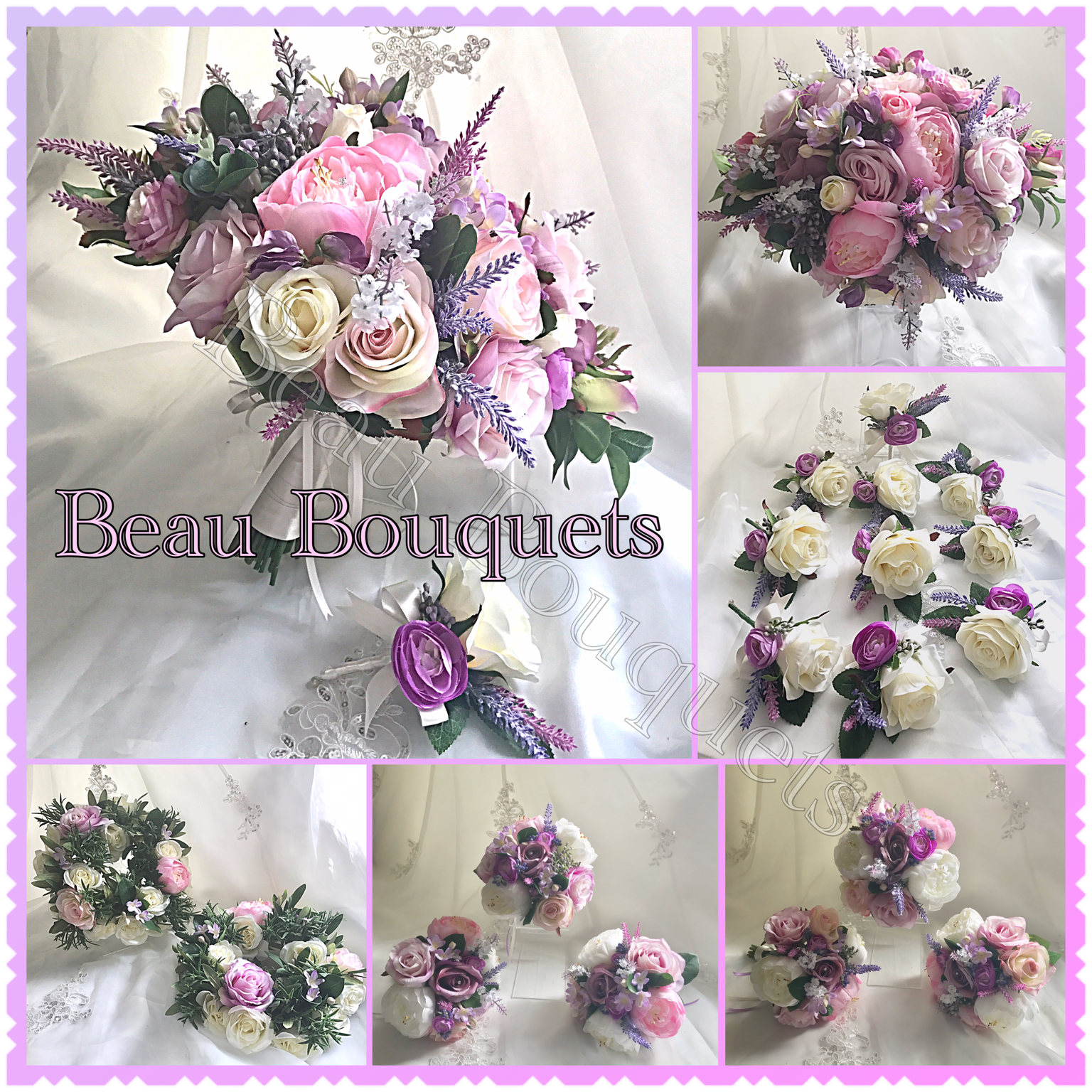 TREASURE - Oval Bride Bouquet Peony, rose, sweet pea, stephanotis & trailing foliage in lilac, pink & Ivory with diamamnte detail