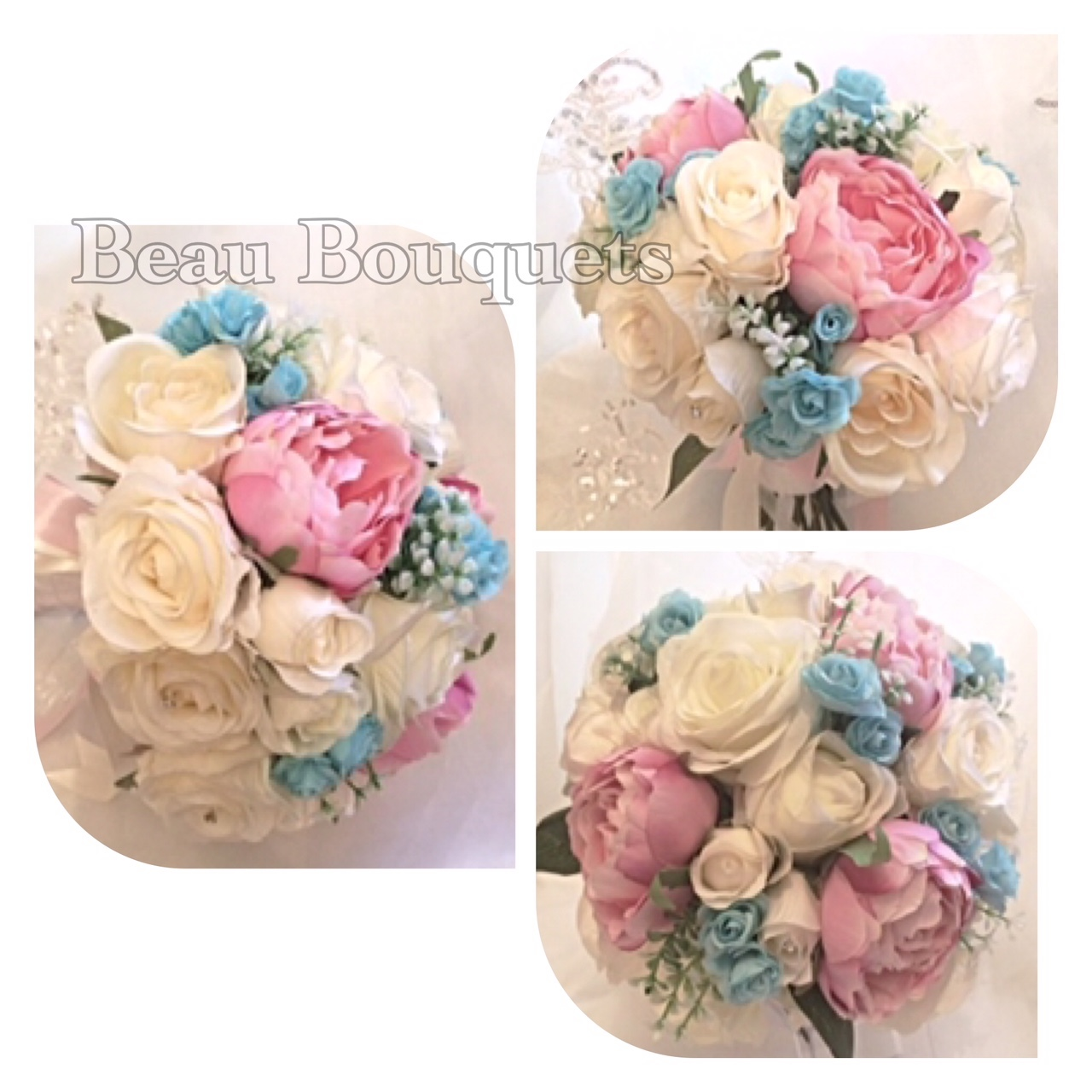 PERFECT - Large round rose peony bride bouquet package blue pink white