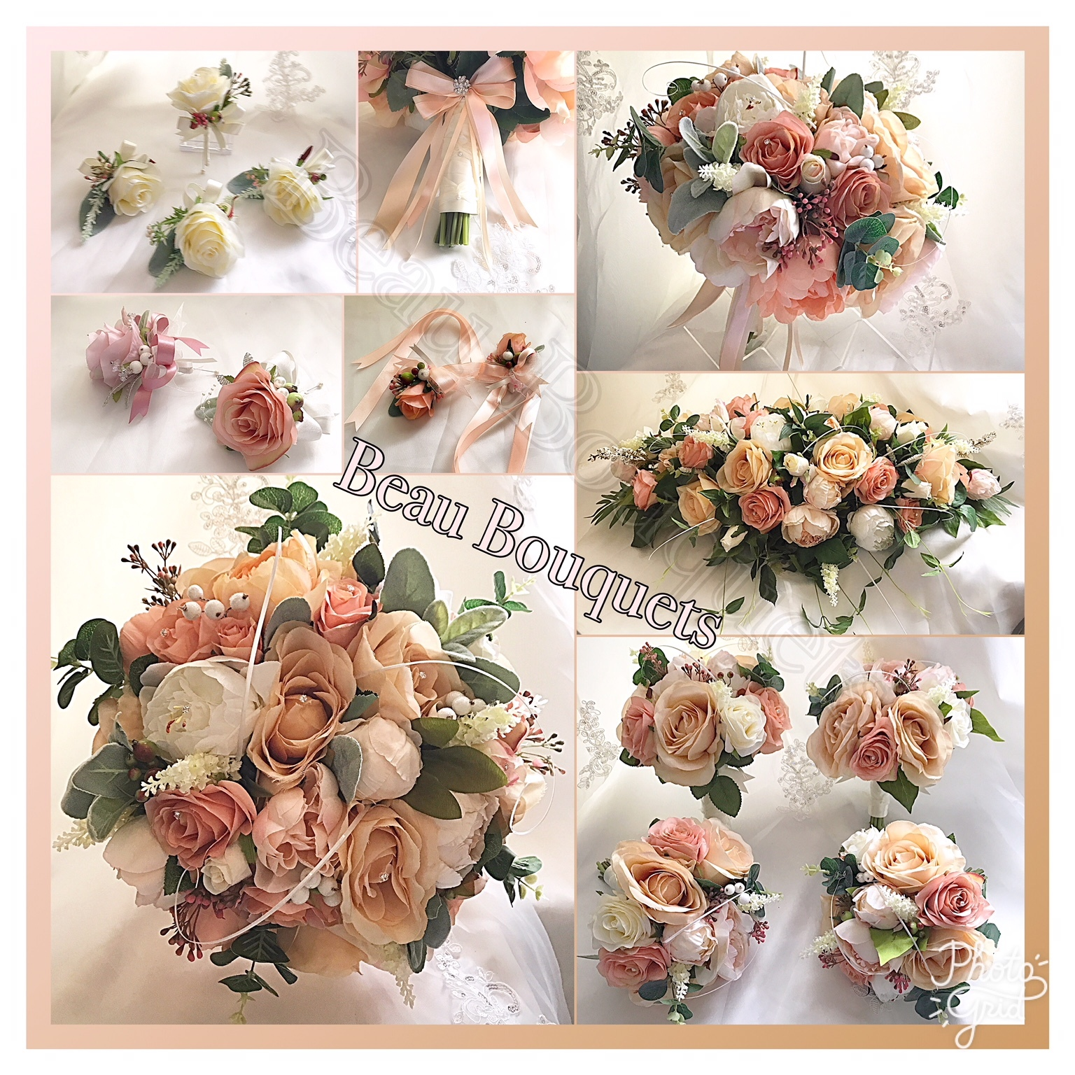 DELIGHT - Peony and rose bride bouquet package peach cream champagne  peach cream champagne roses peonies hypericum and grass detail