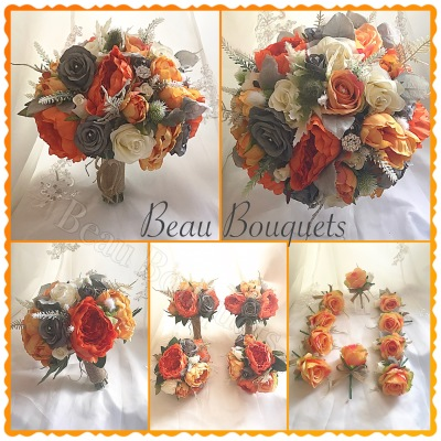 EMBRACE - Round bride bouquet package Roses, thistles, heathers in deep orange, grey & ivory perfect Autumn design