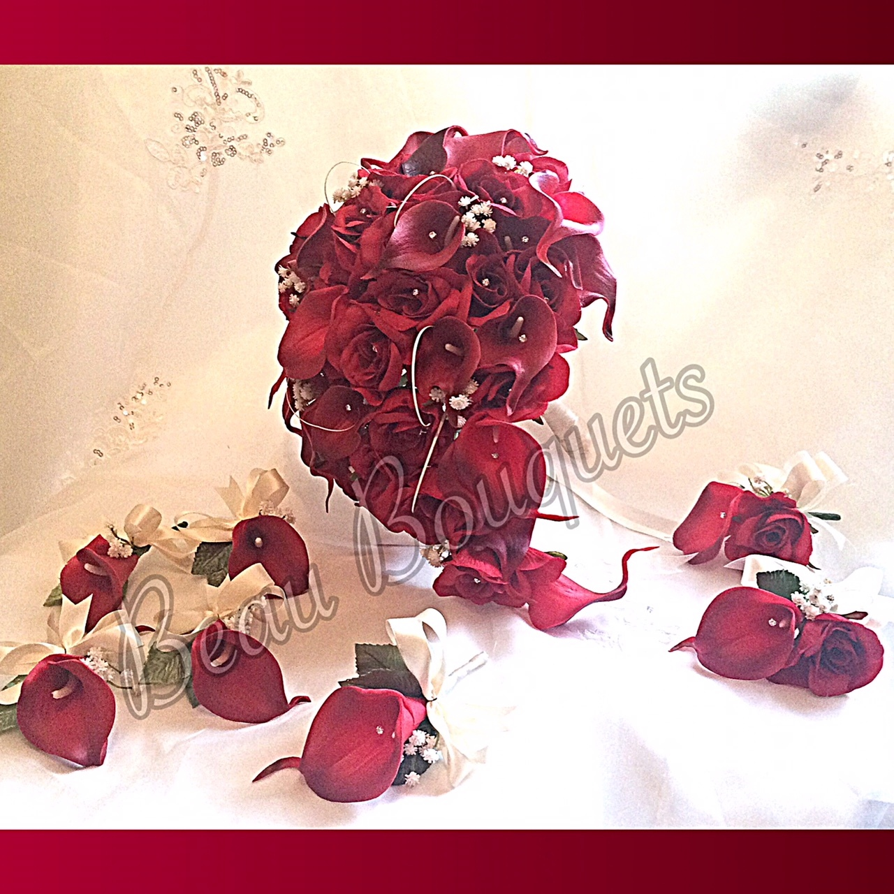 VALENTINE - Teardrop Bride bouquet package Ruby red real touch calla lilies with gypsophila touches and diamante d