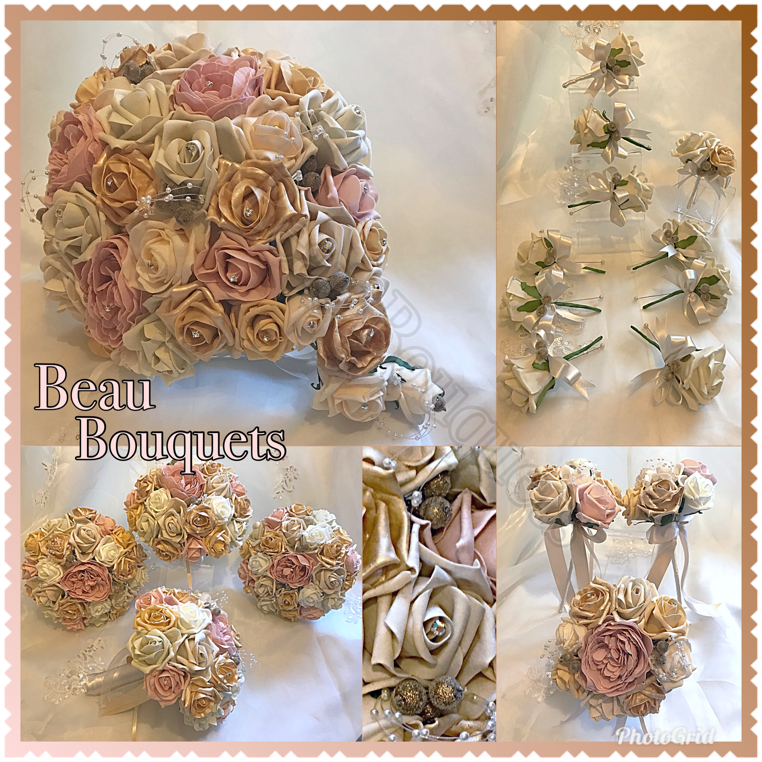 GLAMOUR - Teardrop Bride Bouquet package Gold, Champagne, blush & ivory rose package with pearl loops, gold berries & diamante deta