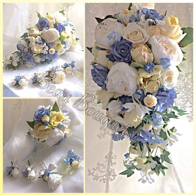 HONOUR - Cascade Bride Bouquet Package Cascade Rose, peony, forget me not, bluebell, stephanotis, sweetpea, freesia in Soft yellows Ivory and pastel blues