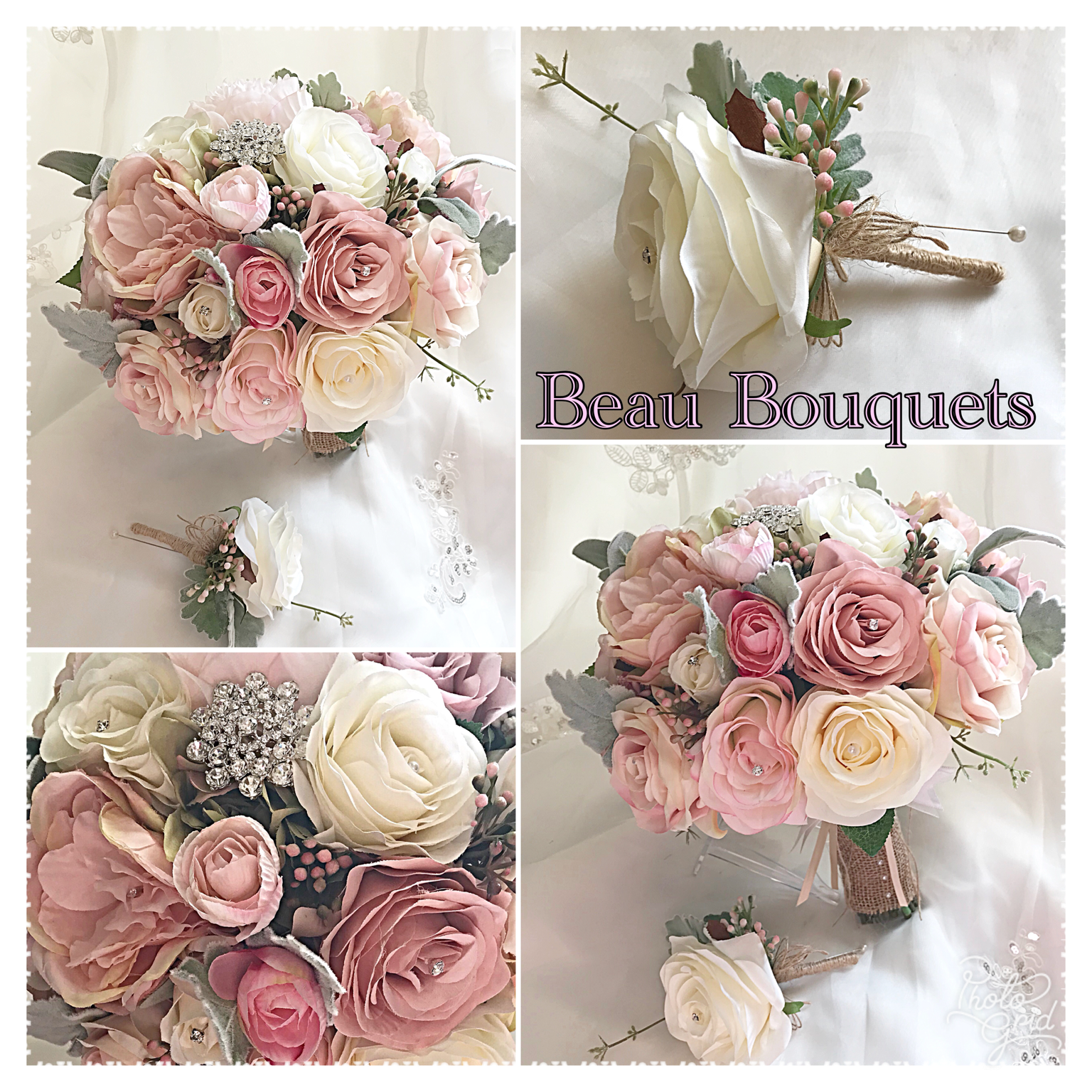 BELOVED - Round bride bouquet package Pale dusty pink, blush & cream roses with dusky green miller touches, brooch detail