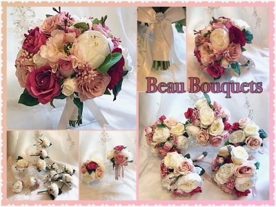 DESIRE - Round bride bouquet package Rose, Peony, japanese berry with dark foliage in Cerise pink, dusky pink & ivory