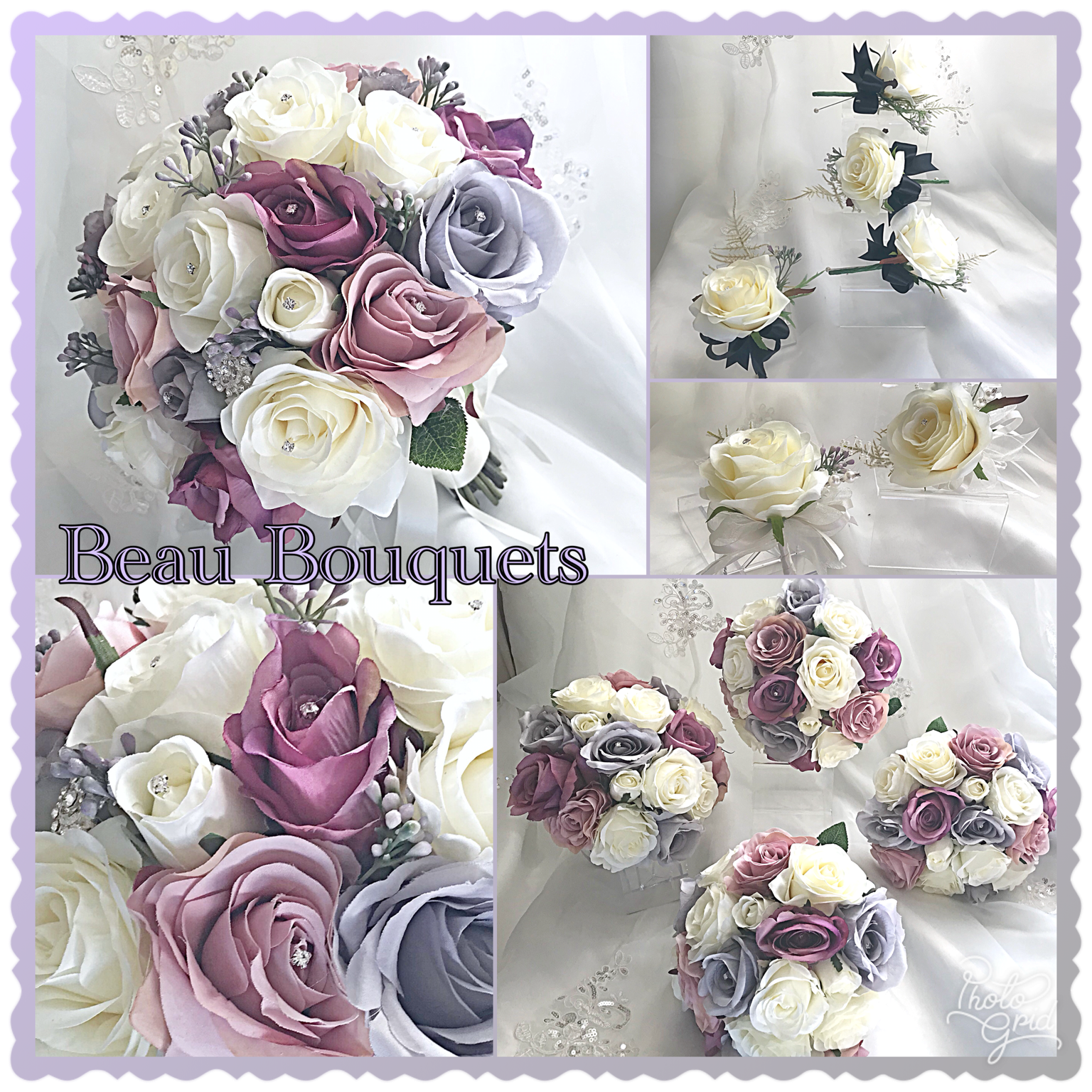 PURE LOVE - MAUVE, LILAC, SOFT GREY & IVORY WITH SILK ROSE PACKAGE