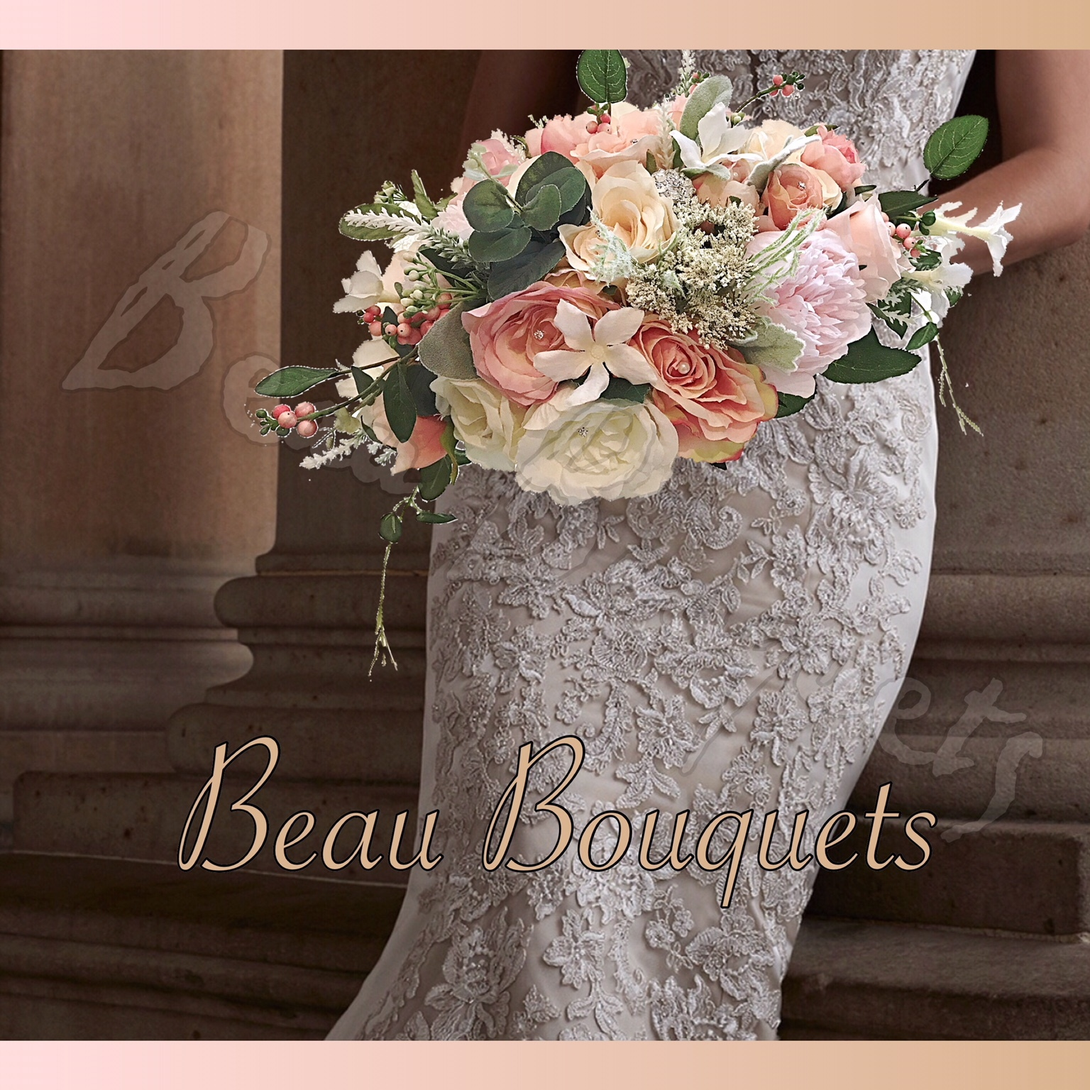 COMPASSION - CRESCENT BRIDE BOUQUET Oval Crescent Peony with diamantes & Silk Roses in Soft Peaches, creams and blush with Satin ribbon Handle and Organza pearl touches.Available in any size package & various colourways
