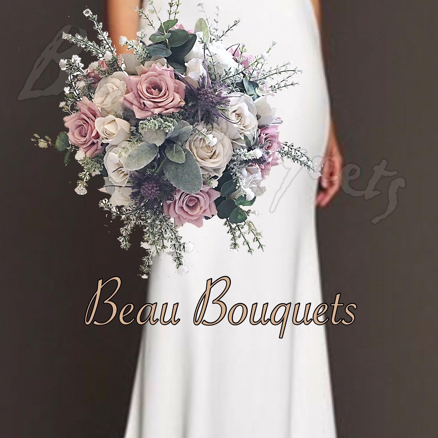 DEVOTION - SPRAY BRIDE BOUQUET Pale Cream, dusky Pink, mauve  & Rose thistle Spray Bride Bouquet With Pearl & Diamante touches
