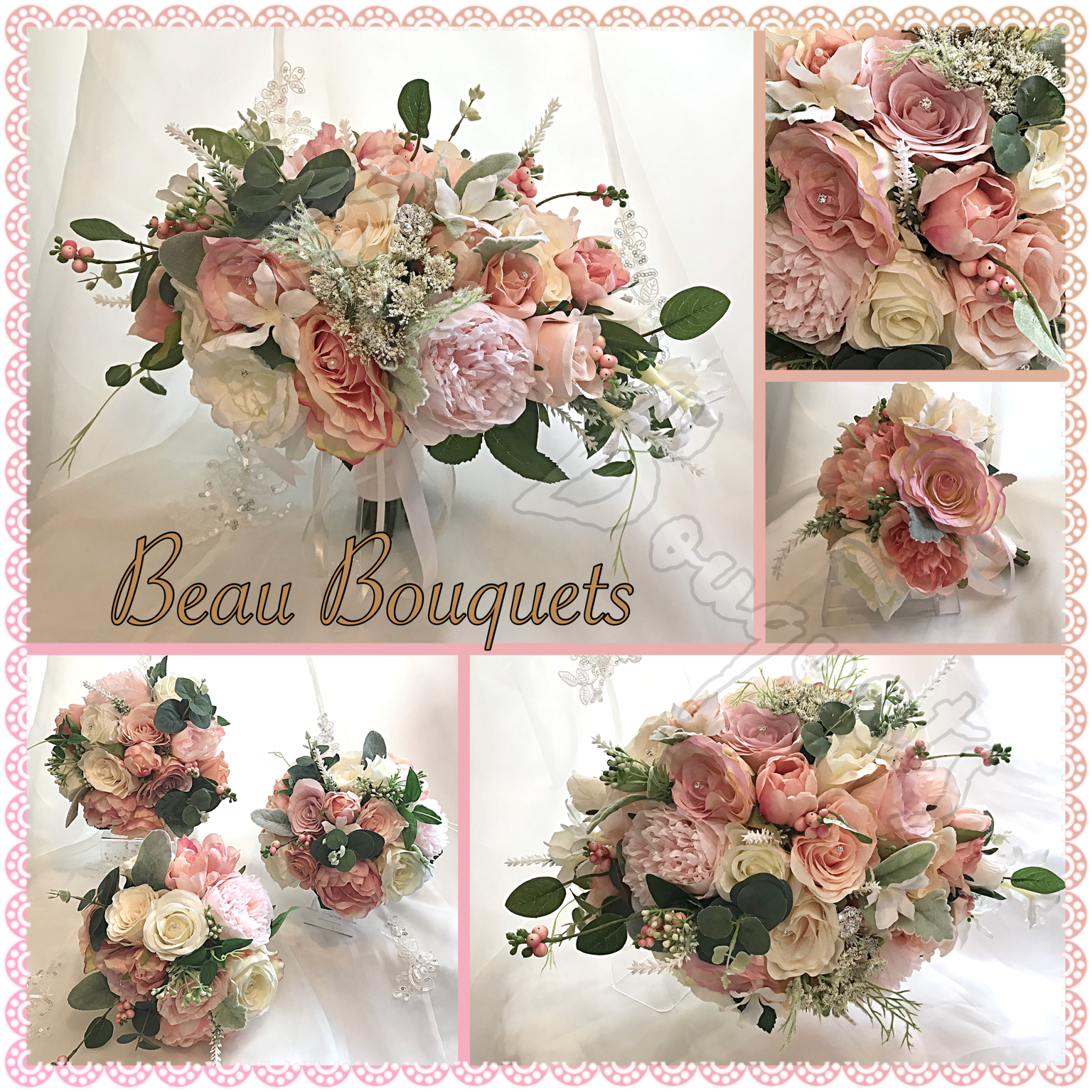 COMPASSION - Peach Peony & Rose Bride Bouquet Package Oval Crescent Peony with diamantes & Silk Roses in Soft Peaches, creams and blush with Satin ribbon Handle and Organza pearl touches.Available in any size package & various colourways
