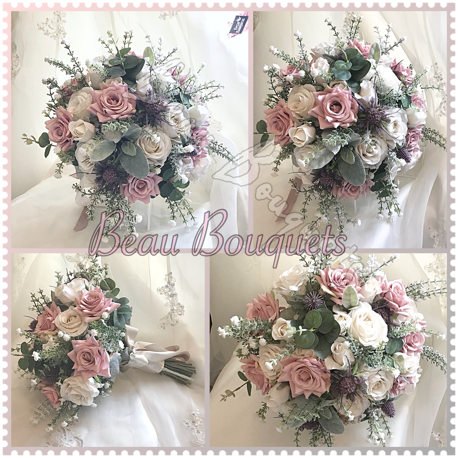 DEVOTION -Scottish Spray Package with Roses, frosted gypsophila, eucalyptus with Diamante touches