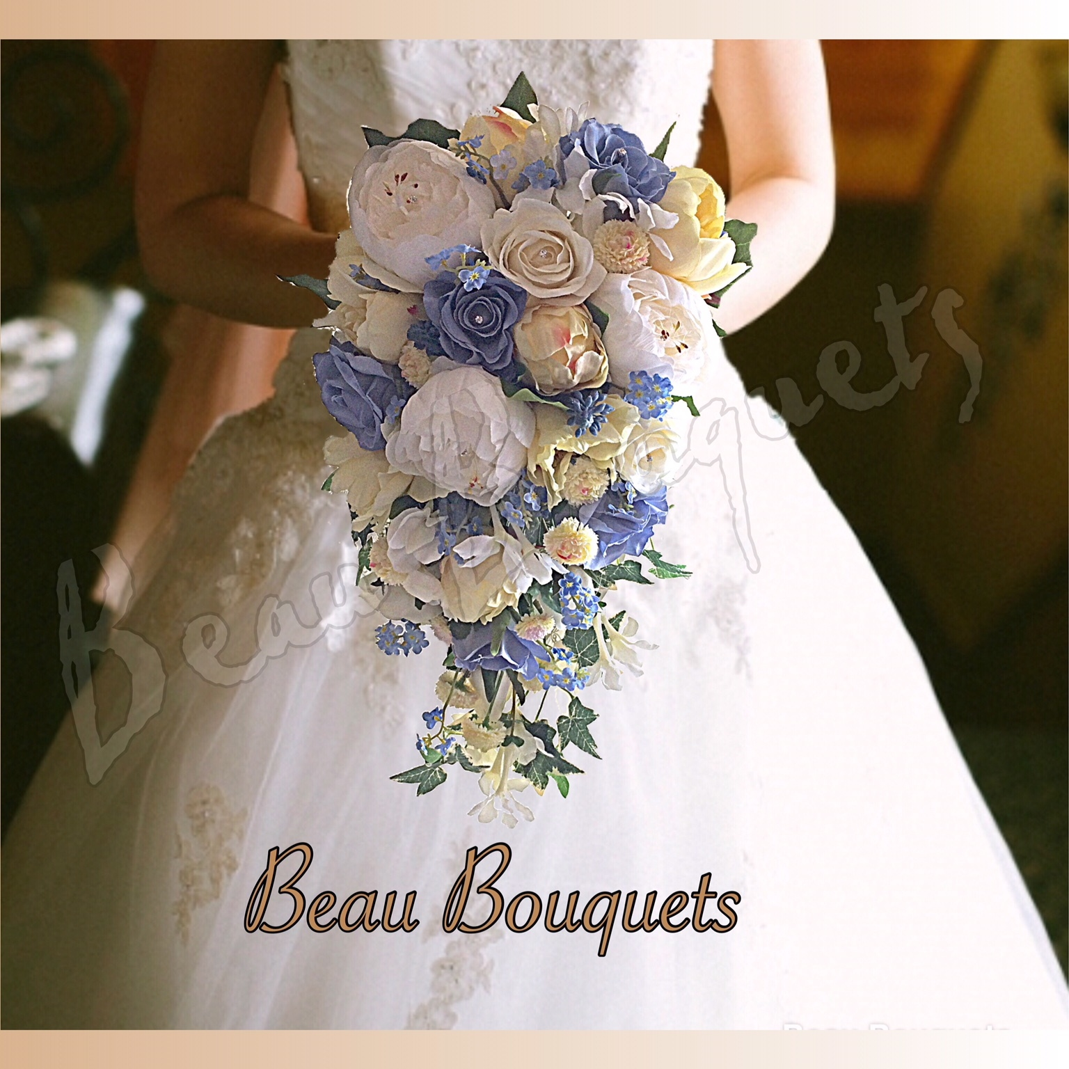 HONOUR - CASCADE BRIDE BOUQUET Cascade Rose, peony, forget me not, bluebell, stephanotis, sweetpea, freesia in Soft yellows Ivory and pastel blues