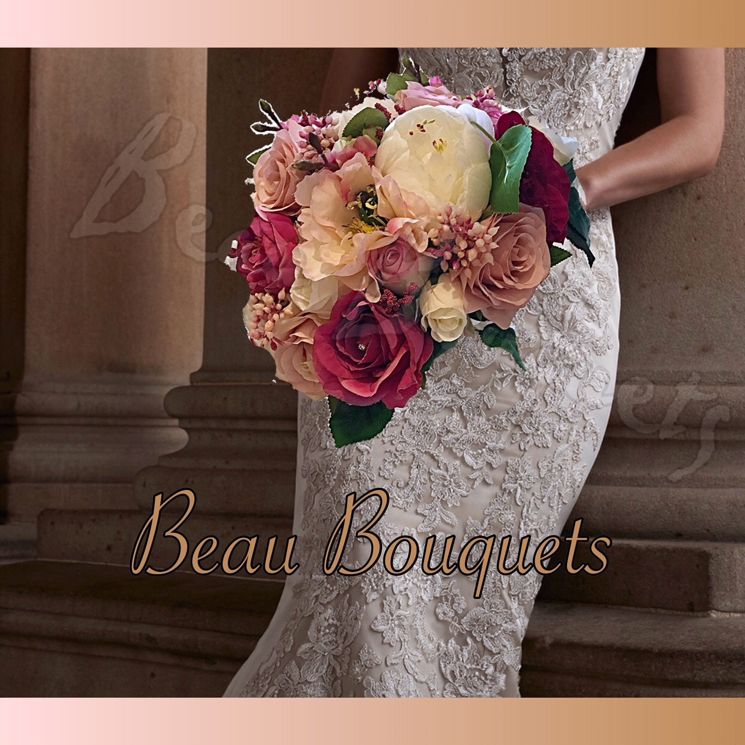 DESIRE - ROUND BRIDE BOUQUET Rose, Peony, japanese berry with dark foliage in Cerise pink, dusky pink & ivory