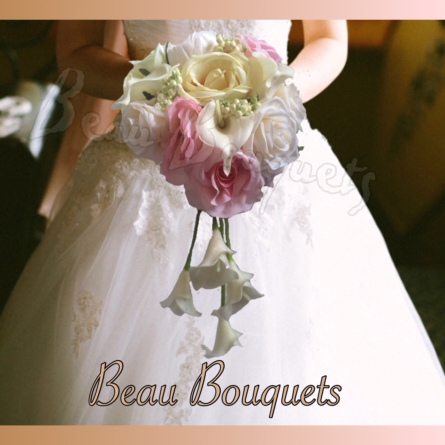 PURITY - LOOSE CASCADE BRIDE BOUQUET