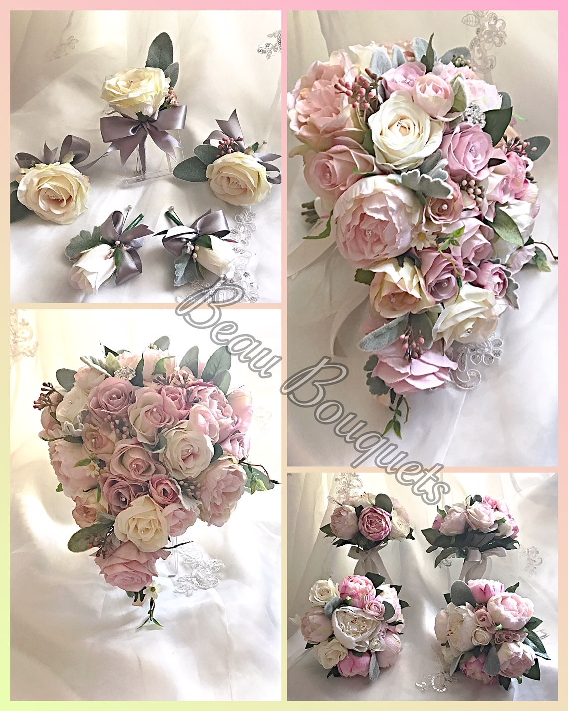 PRECIOUS - Teardrop rose bride bouquet package Vintage pinks & ivory roses with waxflower, berries & dusky foliage. Diamantes to roses & brooch detail
