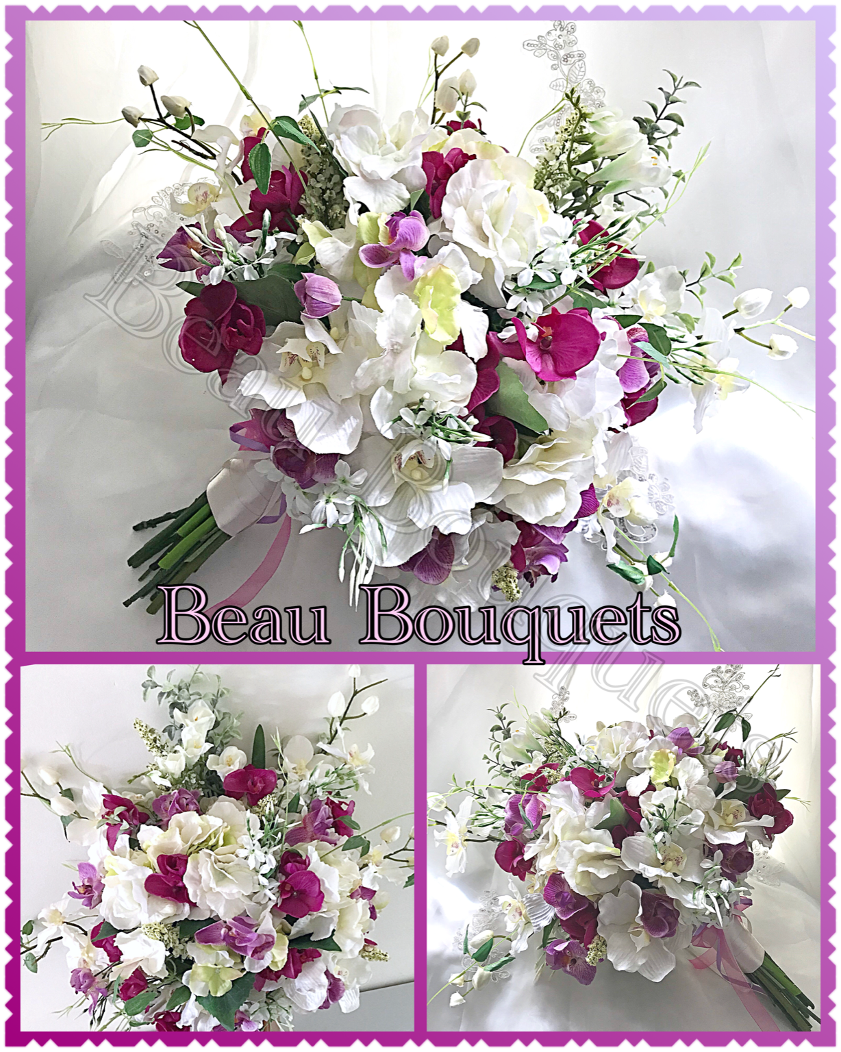 ROMANCE - Orchid round cascade bride bouquet package Large spray cascade with real touch orchids, hydrangea and oriental rus