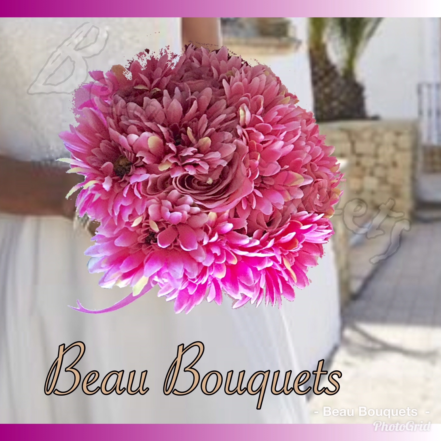 SWEET SUGAR ROUND BRIDE BOUQUET Cerise & bright pinks with white gerberas