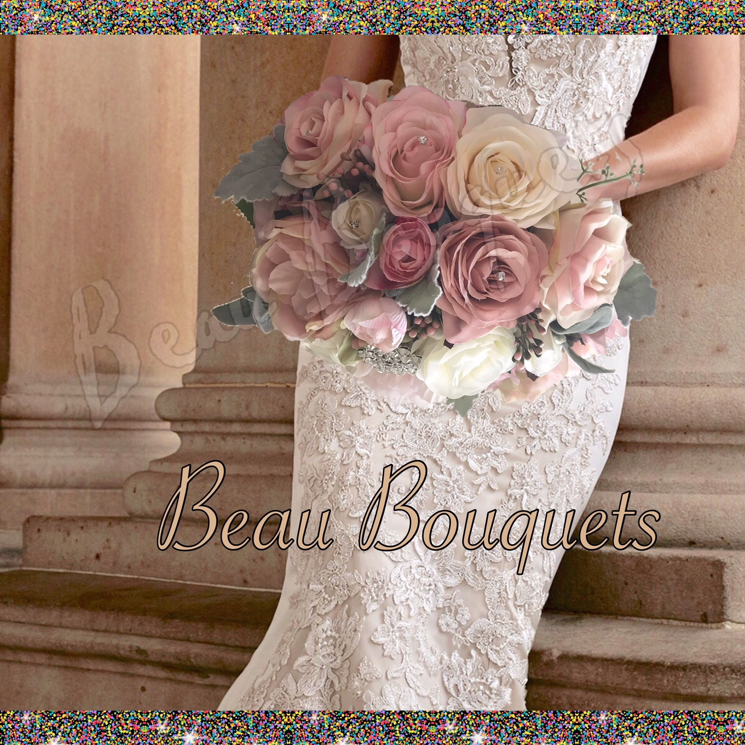 BELOVED - ROUND BRIDE BOUQUET Pale dusty pink, blush & cream roses with dusky green miller touches, brooch detail