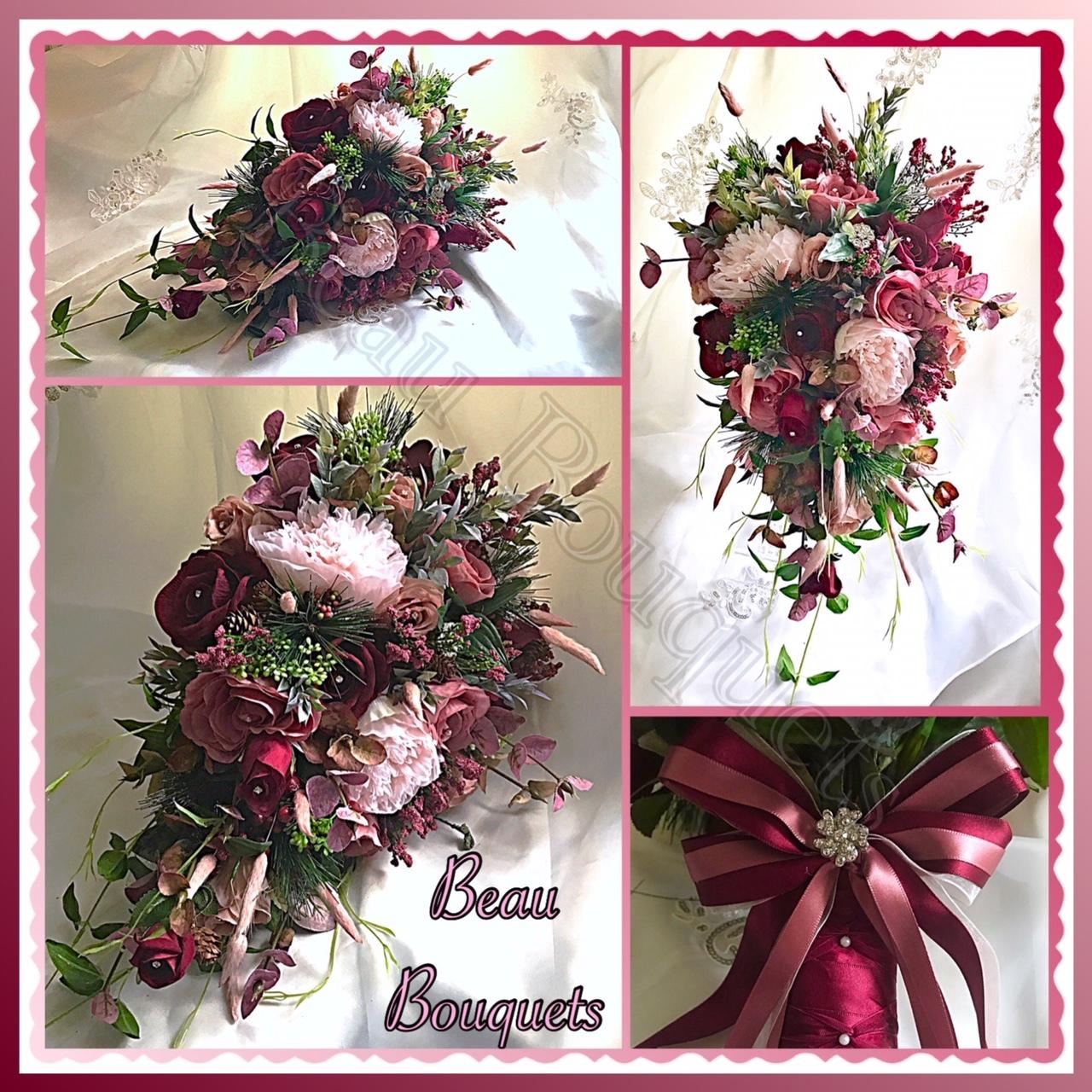 TRUE LOVE - Cascade bride bouquet package Wintry burgundy & dusky pink roses, spruce, fir cones, berries adn dusky green foliage