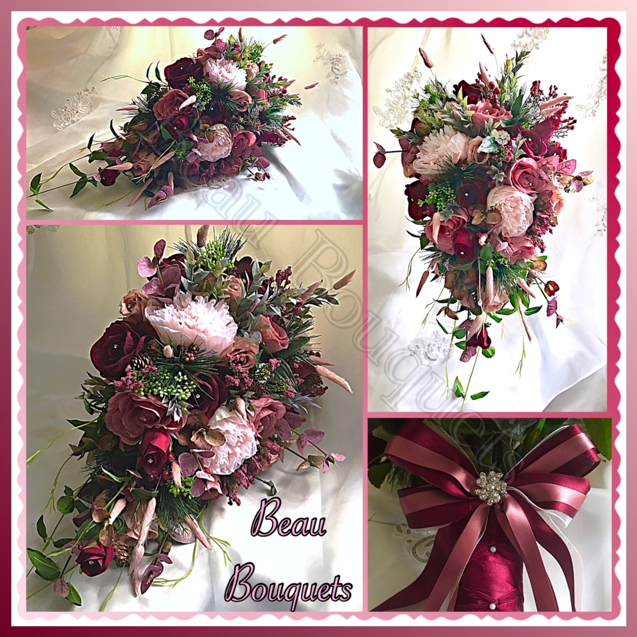 TRUE LOVE - Cascade bride bouquet package Wintry burgundy & dusky pink roses, spruce, fir cones, berries adn dusky green foliage