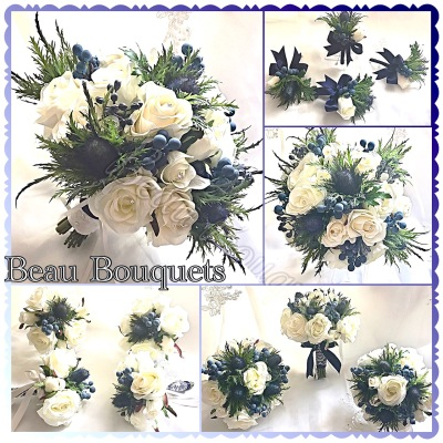 ETERNITY - Scottish spray Bride Bouquet Premium blue sea holly with silk ivory roses & blue berry touches